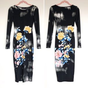 Topshop Long Sleeve Bodycon Flower Midi Dress
